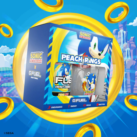 G FUEL Sonic's Peach Rings will also be available for sale to customers in the U.S. and Canada in 40-serving tubs and limited-edition collectors boxes, which include one tub and one shaker cup, at gfuel.com on August 19, 2020.