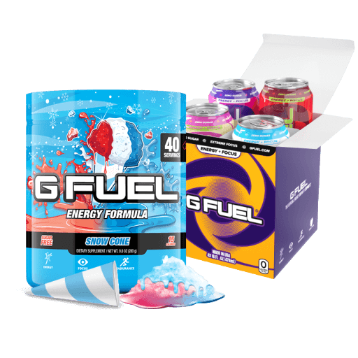 G FUEL| Snow Cone Bundle (Tub + Variety Cans 4 Pack) Bundle (Cans)