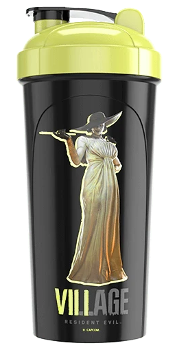 G FUEL Resident Evil Village™ THE LADY DIMITRESCU 24 oz Tall Black and Gold Shaker Cup Front