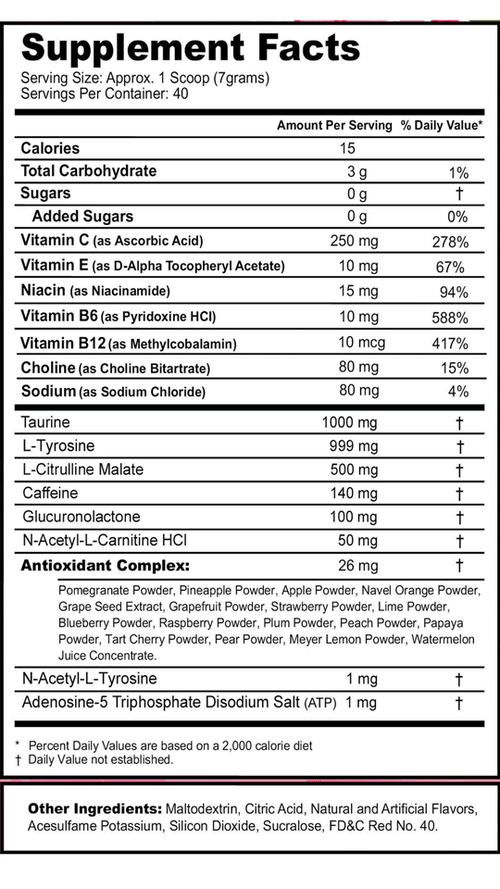 G FUEL Energy Formula Hive Nectar Supplement Facts