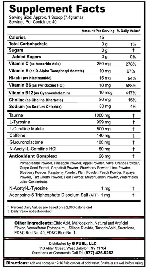 Red Ooze Supplement Facts