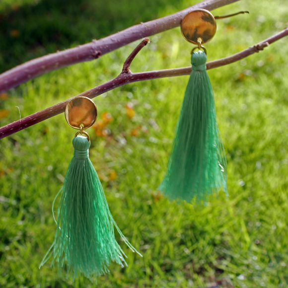 Medallion Tassel Earrings - Light Green