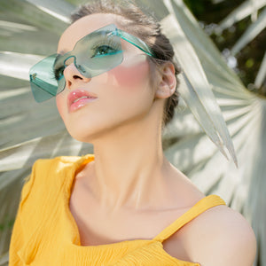 Dip in Sass Oversized Sunglasses-Aqua