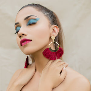 Bohemian Big Drop Tassel Earrings-Maroon