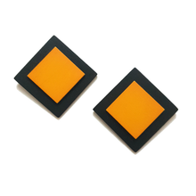 Load image into Gallery viewer, Fair & Square Stud Earrings - Orange