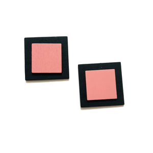 Fair & Square Stud Earrings - Pink