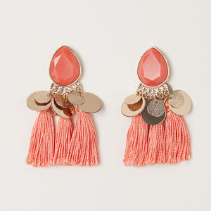 Boho Fringe Earrings - Peach