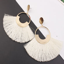 Load image into Gallery viewer, Bohemian Big Drop Tassel Earrings-Off White