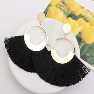 Bohemian Big Drop Tassel Earrings-Black