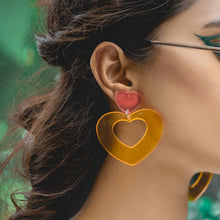 Load image into Gallery viewer, Double Storey Heart Earrings