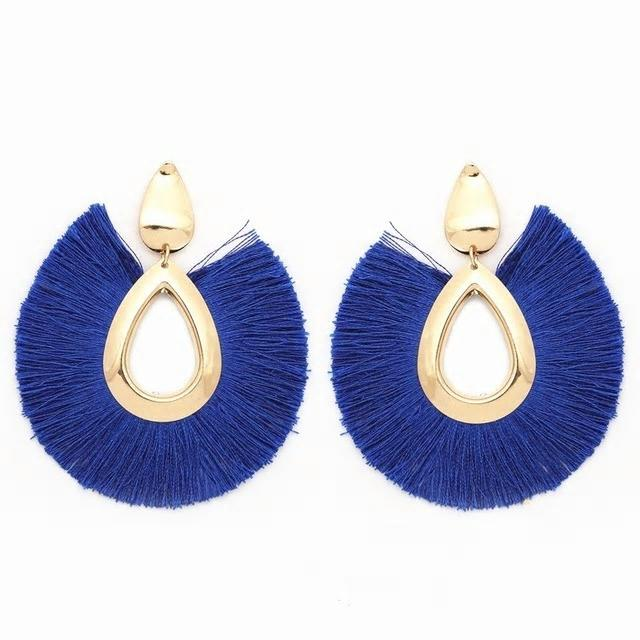 Fringe Oversized Earrings - Blue