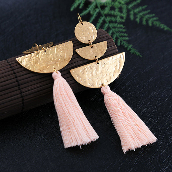 Sweet Pink Tassel Earrings
