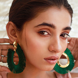 Fringe Oversized Earrings - Green