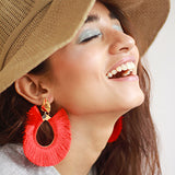 Fringe Oversized Earrings - Red