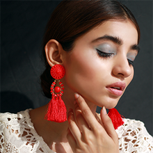Load image into Gallery viewer, Ethnic Tassel Earrings - Red