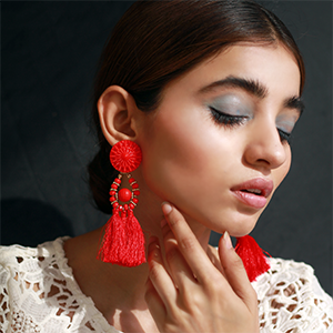 Ethnic Tassel Earrings - Red