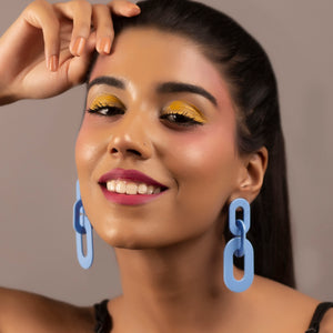 Chunky But Funky Earrings - Blue