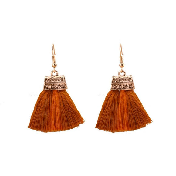 Tassel Drop Earrings-Brown