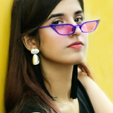 Retro Cat Eye Sunglasses - Purple
