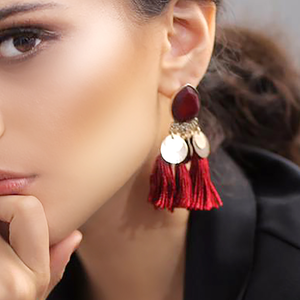Boho Fringe Earrings - Maroon