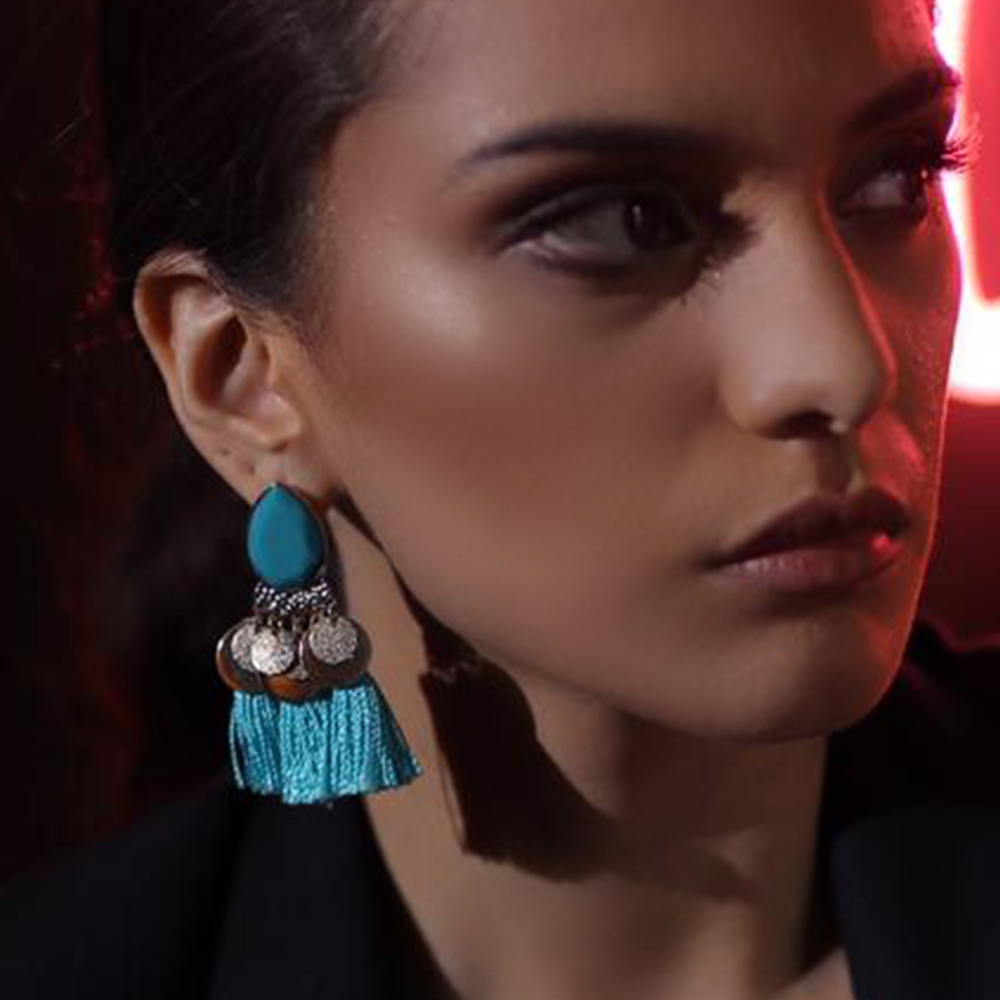 Boho Fringe Earrings - Turquoise