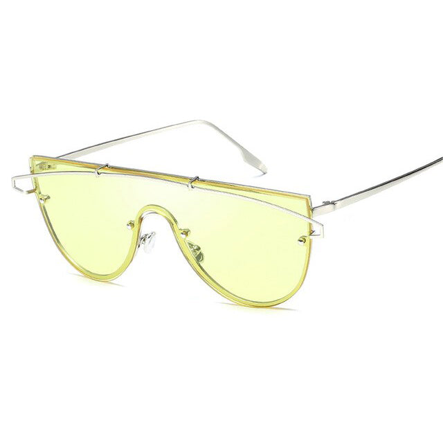 Slay babe Oversized Sunglasses-Yellow