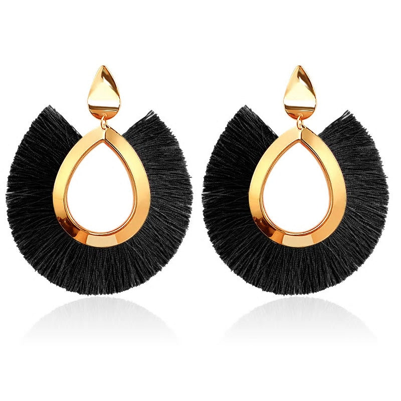 Fringe Oversized Earrings - Black