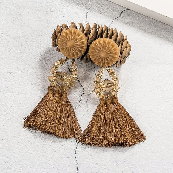 Ethnic Tassel Earrings - Brown