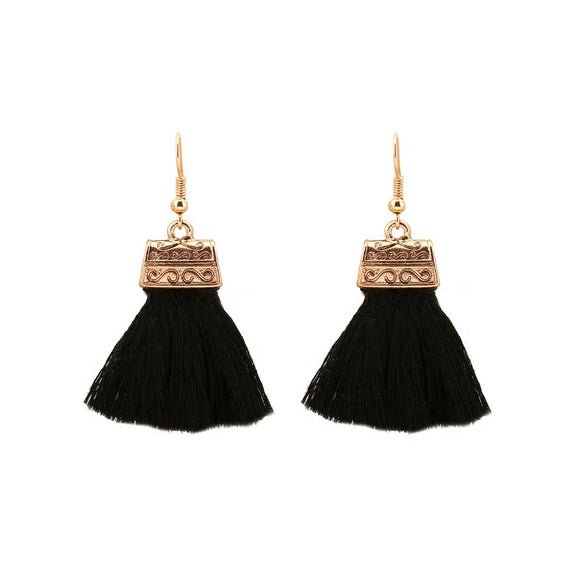 Tassel Drop Earrings - Black