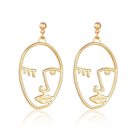 Face It Earrings -Gold