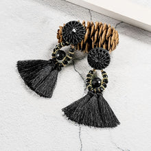 Load image into Gallery viewer, Ethnic Tassel Earrings - Black