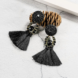 Ethnic Tassel Earrings - Black