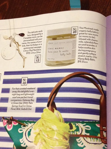 ELUCX Chic Mama Belly Balm featured in Canadian Family Magazine