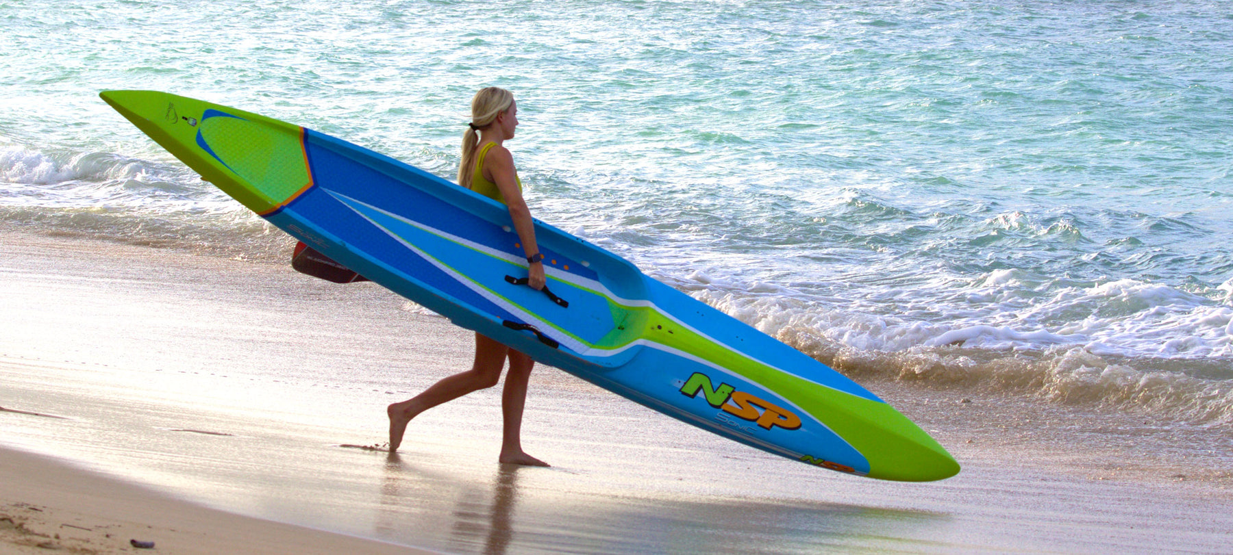 annie reickert paddling an nsp sonic