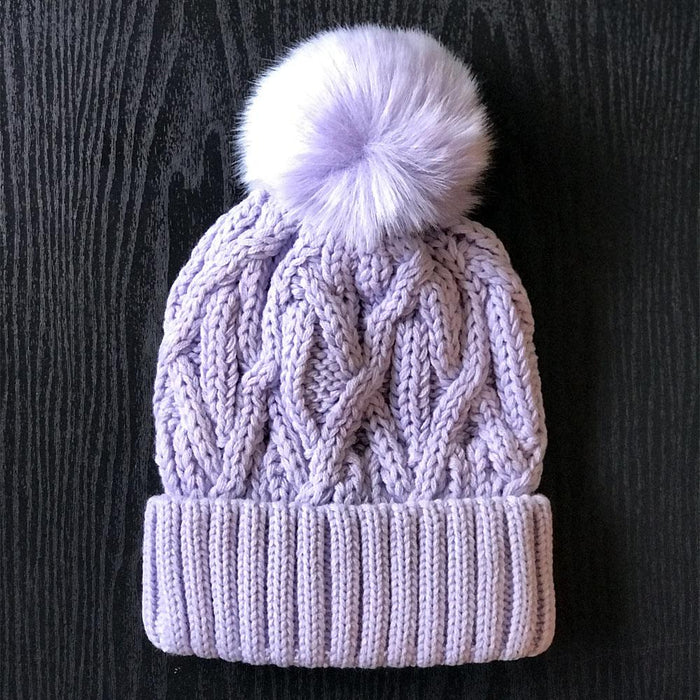 Hand Stitched Ultra Soft Winter Pom Beanie Hat lavender