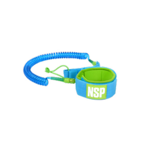 NSP 10' Coiled SUP Leash - BLUE/GREEN
