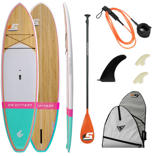 "ECS Inception 10'6"" Stand Up Paddleboard Package 2021 - Aqua/Pink/Wood"