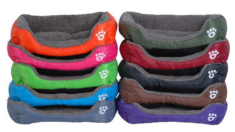 Image of Paw Print Cotton Dog Bed
