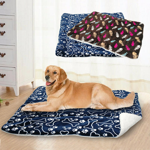 Bone & Paw Flannel Dog Mat