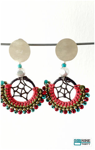 Queen Soma Earring ( blue and red beads)