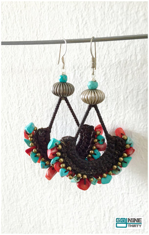 Queen Soma Hooks (Coral and Turquoise chips)