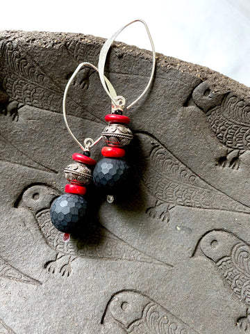 Agate - Coral earrings