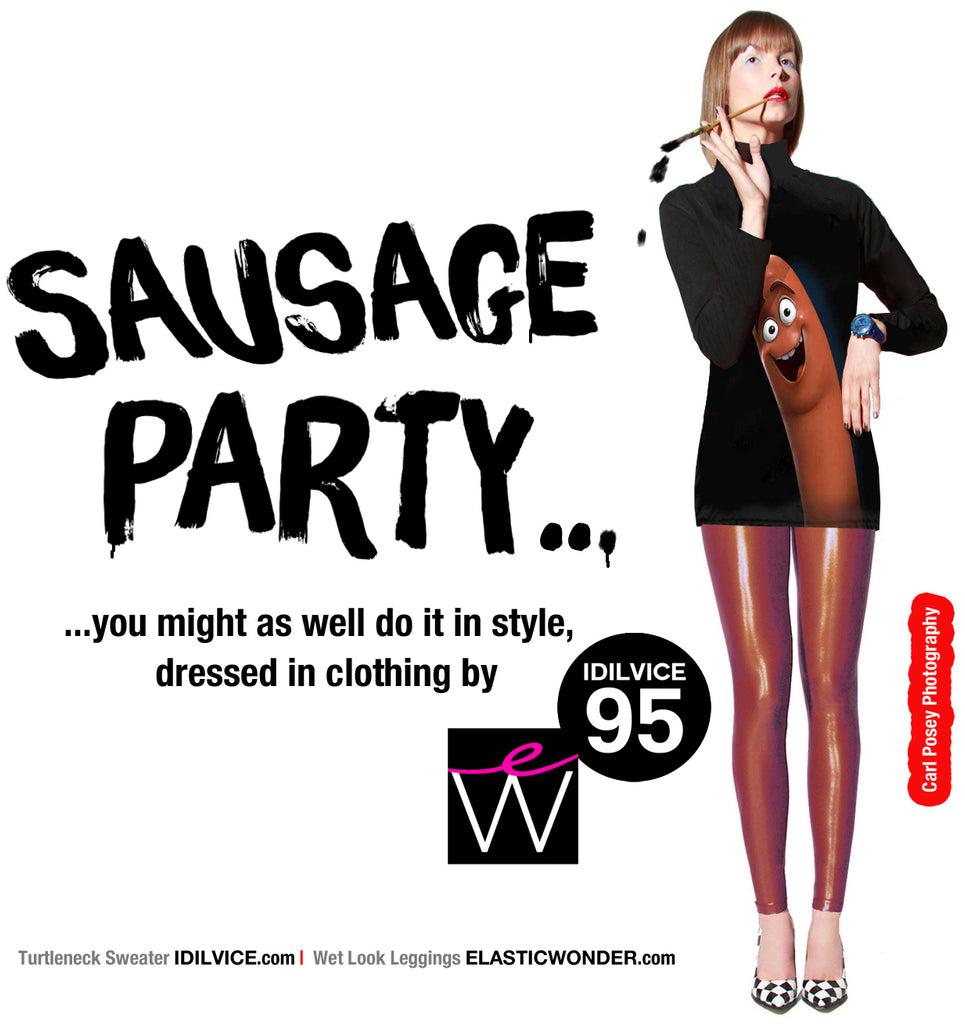 sausage party in style with our wet look leggings