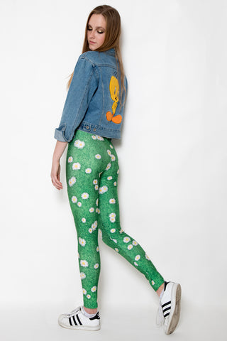 In Stock Daisy Flower Buds On Grass Photo Print Spandex Leggings