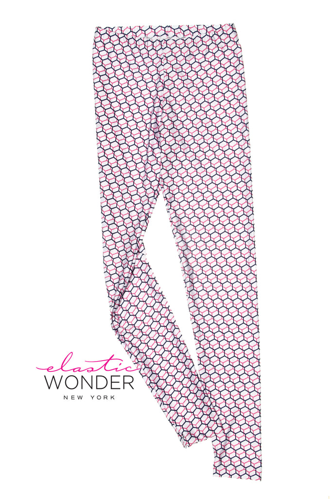 3D Cube Repeat Pattern Spandex Leggings - ElasticWonder.com