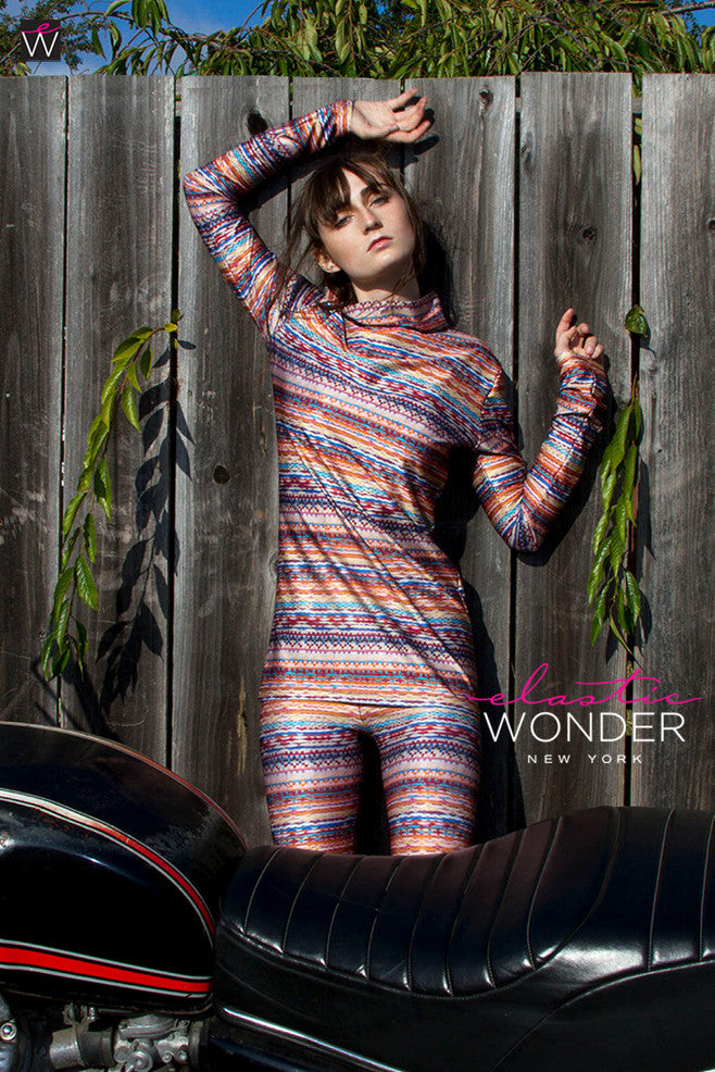 Knit Photo Print Spandex Two Piece Leggings & Top Set - ElasticWonder.com