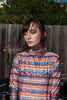 Photo Print Knitted Sweater Spandex Long Sleeve Turtleneck Top - ElasticWonder.com