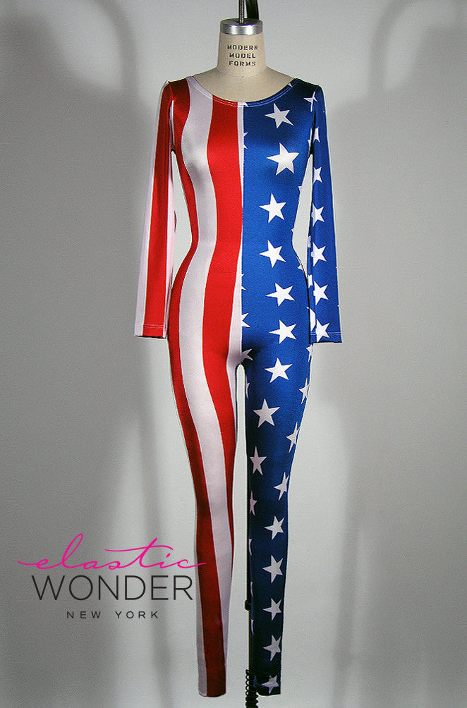 American Flag Printed Spandex Whole Body Suit Catsuit - ElasticWonder.com