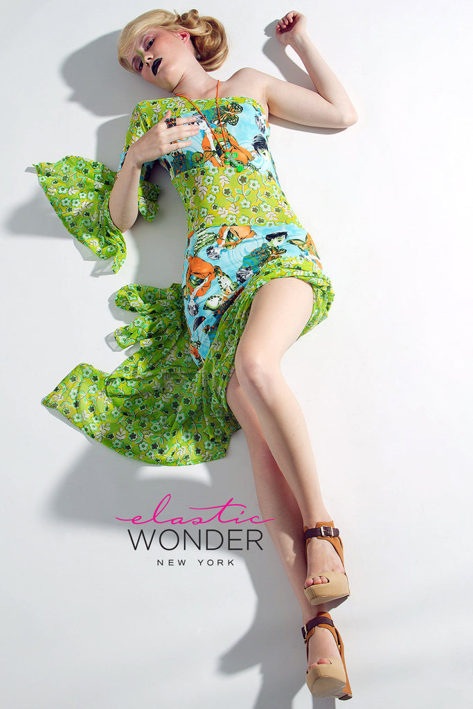 Anime Spring Time Print Asymetrical Peek A Boo Spandex Dress - ElasticWonder.com