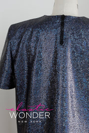 Retro Shoulder Pad Avatar Hologram Short Sleeve Mini Dress Long Top - ElasticWonder.com